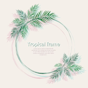 Cadre avec des feuilles de palmier