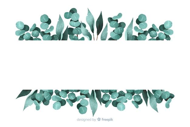 Cadre de feuilles peintes abstraites avec espace de copie