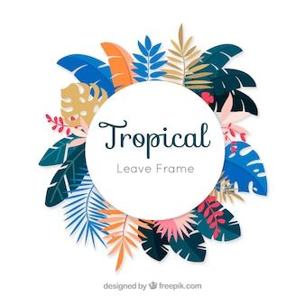 Cadre de feuilles tropicales colorées