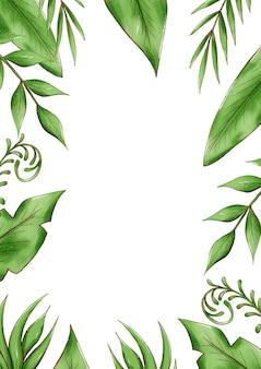 Cadre de feuilles tropicales exotiques, feuillage de la jungle
