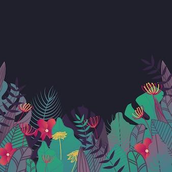 Cadre de feuilles tropicales. fond de forêt avec des feuilles et des fleurs.
