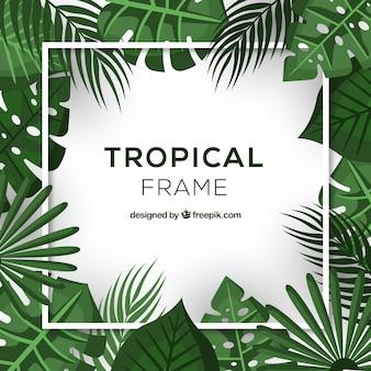 Cadre de feuilles tropicales réalistes
