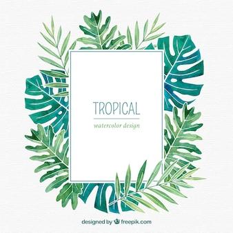 Cadre de feuilles tropicales avec style aquarelle