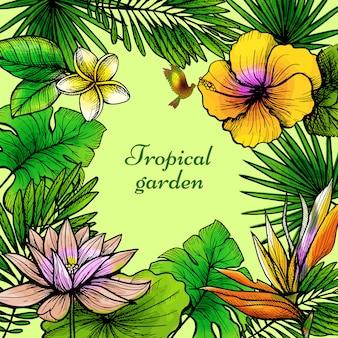 Cadre de feuilles tropicales