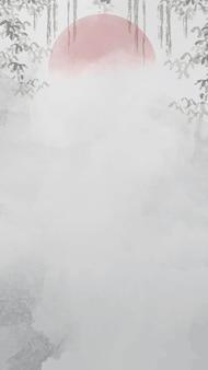 Cadre feuillu blanc gris
