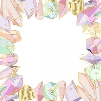 Cadre figuré, fait de cristaux, gemmes
