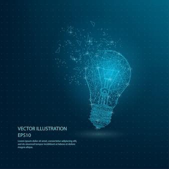 Cadre de fil basse poly lampe bleue ampoule