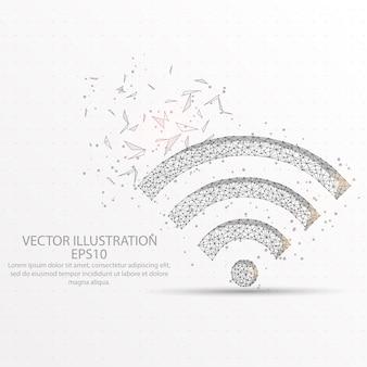 Cadre de fil de faible poly de signal de wifi.