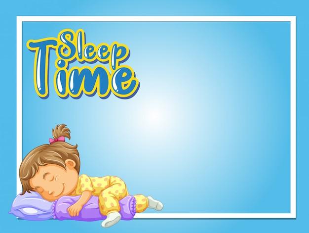 Cadre avec fille dormant dans son lit