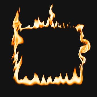 Cadre de flamme, forme carrée, vecteur de feu brûlant réaliste