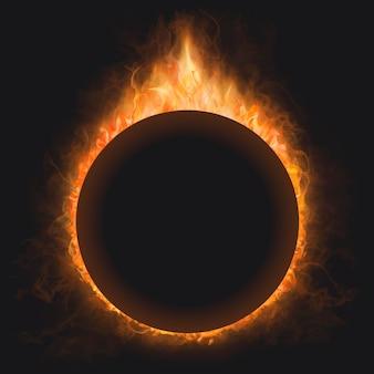 Cadre de flamme, forme de cercle, vecteur de feu brûlant réaliste
