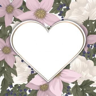 Cadre fleur d'amour - saint valentin