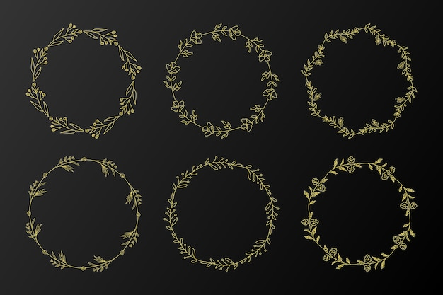 Cadre fleur cercle doré pour illustration de conception de logo monogramme