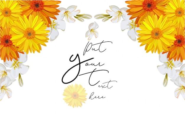 Cadre de fleur cosmos jaune pour l'illustration vectorielle texte