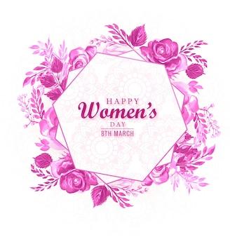 Cadre fleur décoratif avec carte de fête des femmes