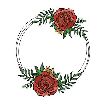 Cadre de fleur double rond style de dessin botanique de bordure de cercle floral.