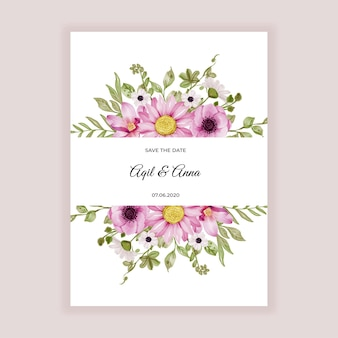 Cadre de fleur avec des fleurs roses douces et aquarelle de feuille de verdure