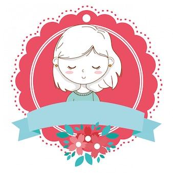 Cadre de fleur floral de dessin animé tenue élégante fille portrait isolé