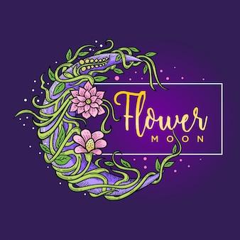 Cadre de fleur et lune