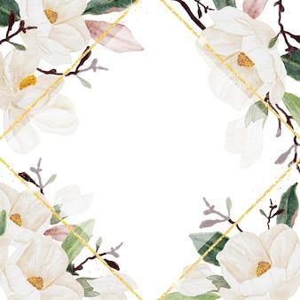 Cadre de fleur de magnolia aquarelle