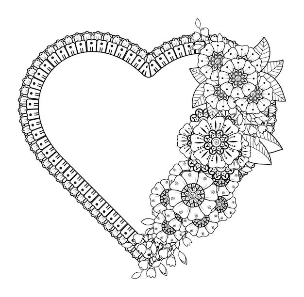 Cadre fleur mehndi en forme de coeur.