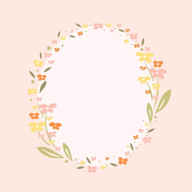 Cadre fleur pastel, vecteur, illustration design plat