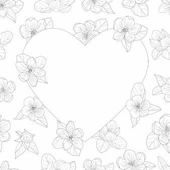 Cadre de fleur de pommier, coloriage