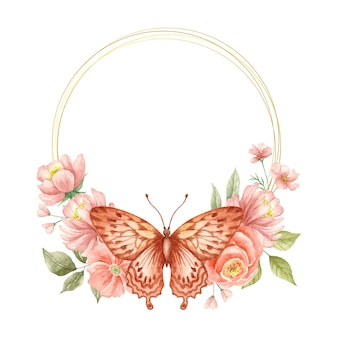 Cadre de fleur de printemps aquarelle avec papillon