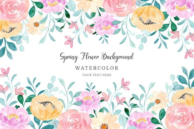 Cadre de fleur de printemps fond floral coloré avec aquarelle