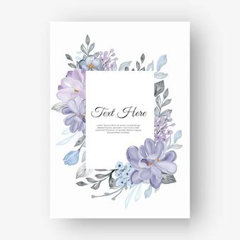 Cadre fleur rectangulaire avec fleurs lilas