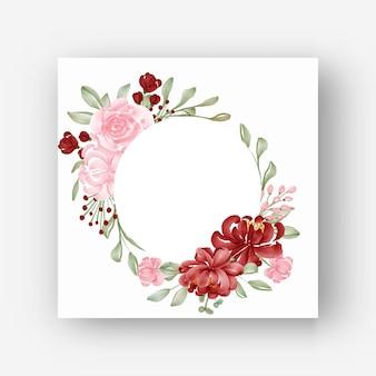 Cadre de fleur rond avec des fleurs aquarelles rouges et roses