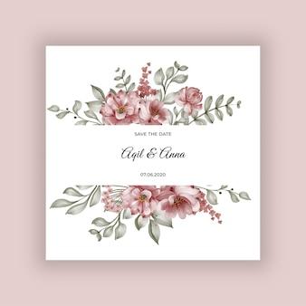 Cadre fleur rose bordeaux pour invitation de mariage