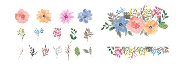 Cadre fleuri et collection individuelle d'aquarelles florales