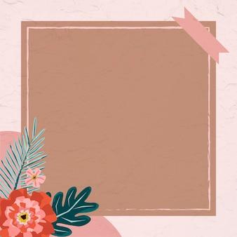 Cadre fleuri avec ruban washi
