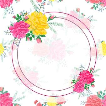 Cadre fleurs abstraites rose