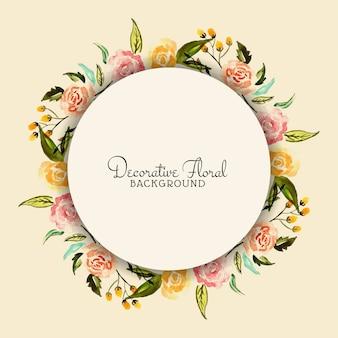 Cadre de fleurs aquarelle circulaire élégant