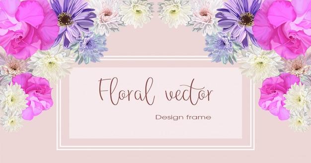 Cadre de fleurs de chrysanthème et d'azalée