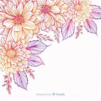 Cadre de fleurs décoratives dessinées à la main