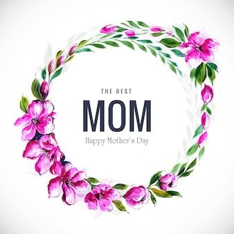 Cadre de fleurs élégant belle carte de fête des mères