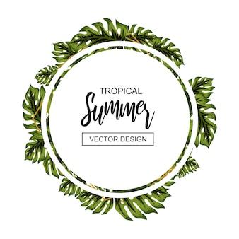 Cadre de fleurs d'été tropical