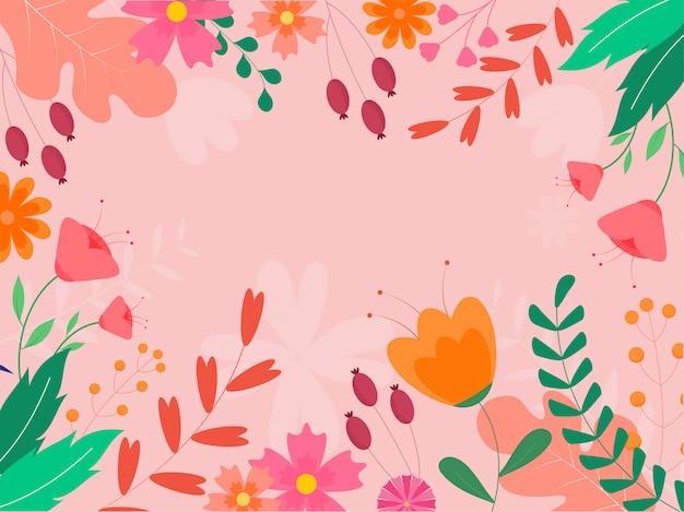 Cadre de fleurs et feuilles colorées