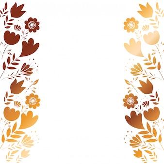 Cadre avec fleurs et feuilles doré