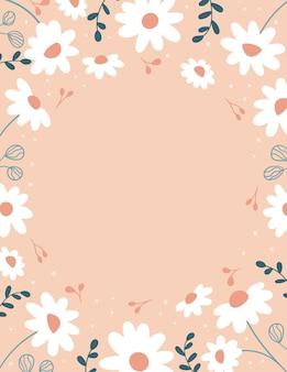 Cadre avec des fleurs et des feuilles de marguerite sur rose
