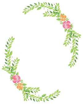 Cadre avec fleurs et feuilles