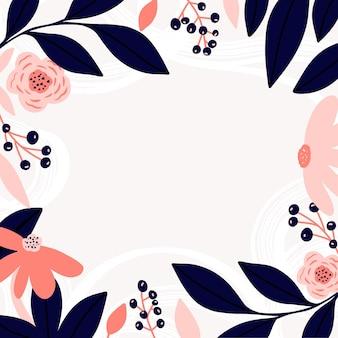 Cadre de fleurs avec des fleurs et des feuilles de plantes abstraites laisse des fleurs abstraction lumineuse