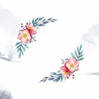 Cadre de fleurs d'hellébore peint par vecteur aquarelle