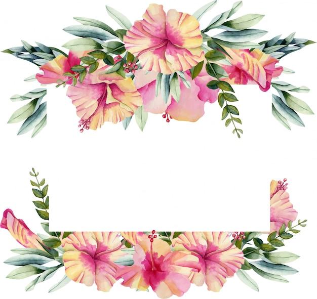 Cadre avec des fleurs d'hibiscus aquarelles