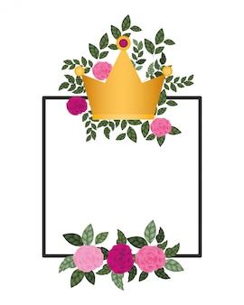 Cadre avec fleurs et icône isolé de la couronne