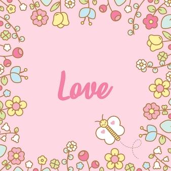 Cadre de fleurs kawaii