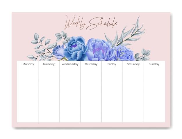Cadre de fleurs de modèle de planificateur de calendrier hebdomadaire